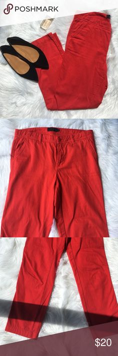 "J.Crew Red Chino Pants J. Crew Red Chino Pants. Previously loved. No flaws. Dimension: 36"" long and 16"" wide while lying flat. Straight leg. Material: Cotton. J. Crew Pants Straight Leg"