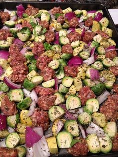 Easy Paleo Dinner - Sausage and Veggie (brussel sprouts. squash. red onion) Bake