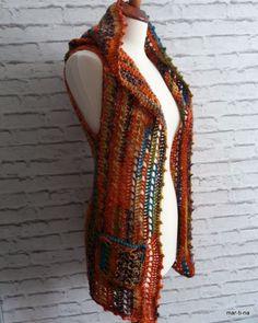 Autumn+dream+-+vesta+Háčková+vesta+s+kapucí+z+velmi+příjemné+akrylové+příze+v+barvách+podzimu.+Vesta+je+bez+knoflíků+a+má+dvě+kapsičky+Barva:+podzimní+barvy+velikost:+S+Materiál:+100%acryl+Údržba:+prát+na+max+30°C+v+tekutém+prostředku+nebo+šamponu,+pouze+jemně+promnout+v+ruce,+vymačkat+vodu+sušit+na+osušce+volně+ložené+Možno+prát+v+pračce,+pokud+má+program... Crochet Poncho, Poncho Sweater, Beaded Necklace, Vest, Autumn, Sweaters, Jackets, Fashion, Beaded Collar