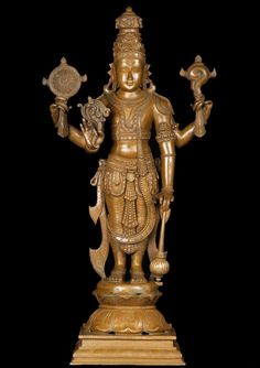Beautiful Bronze Vishnu Statue Vishnu is the Preserver of the Dharma and one of the 3 deities of the Trimurti along with Shiva and Brahma. Hindu Statues, Greek Statues, Buddha Statues, Lotus Sculpture, Bronze Sculpture, Sculpture Art, Padmanabhaswamy Temple, Indian Temple, Krishna Statue
