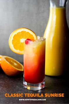 This Classic Tequila Sunrise cocktail is as beautiful as it is delicious, you've come to the right place. Blackberry Wine, Strawberry Wine, Margarita Recipes, Cocktail Recipes, Cocktail Drinks, Sparkling Drinks, Summer Cocktails, Tequila Drinks, Alcoholic Drinks