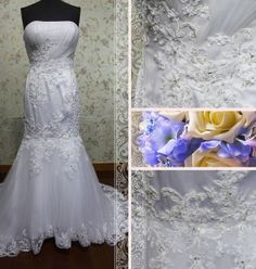 Elegant strapless mermaid lace appliques by Loveannaweddingdress, $265.00