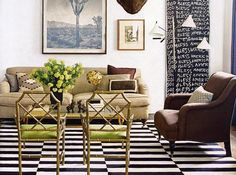 Living room design by Nate Berkus with fab gilded Chinese #Chippendale #chairs with lime #green cushions.