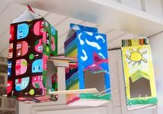 Mod Podge kids craft - milk carton birdhouses