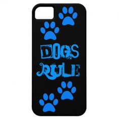 Dogs Rule Paw Prints Blue Black iPhone 5 Case