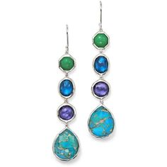 Ippolita Sterling Silver Wonderland 4 Stone Drop Earrings in... ($995) ❤ liked on Polyvore featuring jewelry, earrings, stone jewelry, stone jewellery, stone drop earrings, chrysoprase jewelry and ippolita earrings
