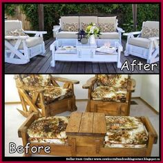 Dollar Store Crafter: Old Sofa Couch Set Makeover