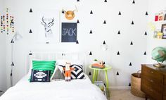 Colourful & cost-effective kids room ideas. Wall stickers and bright furniture
