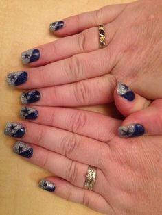 Nail by Callie Kline-rykowski ! Football here! Dallas Cowboys Nail Designs, Dallas Cowboys Nails, Football Nails, Football Team, Cowboys Football, Colorful Nail Designs, Acrylic Nail Designs, Acrylic Nails, Acrylics