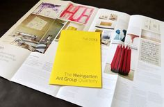 Weingarten Art Group Brochure -The binding is interesting too in that there is none. The forms are gathered and nested together conveying an effortless (but intentional) casual style. Weingarten Art Group Newsletter - poster format for the newsletter