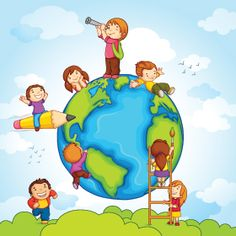Illustration about Vector illustration of kids climbing around earth. Illustration of editable, painting, object - 29843816 Happy Children's Day, Happy Kids, Children's Day Greeting Cards, Children's Day Wishes, Scrapbooking Image, Kids Climbing, School Frame, School Murals, Adhd Kids