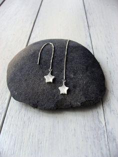 Star Threader Earrings, 925 Sterling Silver, White MOP Star Earrings, White Star Threaders, Modern Needle Threader, Long Chain Earrings by NORRANA on Etsy