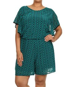 Look what I found on #zulily! Teal & Black Zigzag Dolman Romper - Plus by C.O.C. #zulilyfinds