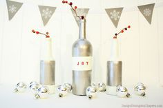 Christmas Bottle Decor and Bunting With Martha Stewart Paint