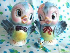 lefton bluebird, vintag bluebird, bluebirds, vintag salt, vintage birds, bird salt, blue bird, vintag birdi, birds salt and pepper