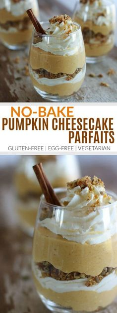 No-Bake Pumpkin Cheesecake Parfaits | Impress your guests this Holiday season with these adorable No-Bake Pumpkin Cheesecake Parfaits. This gluten-free, egg-free dessert combines the ever-so-popular pumpkin pie with the traditional cheesecake. || The Real Food Dietitians #glutenfreerecipes #pumpkin #pumpkinrecipes #cheesecake #nobake #therealfoodrds
