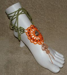 Holloween Pumpkin Barefoot Sandals or Ring by gilmoreproducts33, $15.00