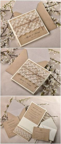 Top 10 Rustic Wedding Invitations to WOW Your Guests Shabby chic lace and burlap rustic wedding invitation suite; Wedding Invitations Diy Handmade, Handmade Wedding Invitations, Vintage Wedding Invitations, Rustic Invitations, Wedding Invitation Suite, Wedding Stationary, Invites, Invitation Wording, Invitation Ideas