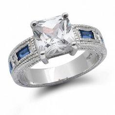 CZ Princess Cut and Blue Sapphire Color Baquettes Engagement Ring 3ct