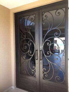 28 ideas for metal door design entrance wrought iron Door Gate Design, Main Door Design, Front Door Design, Iron Front Door, Window Grill Design, Window Security Bars, Wrought Iron Doors, Steel Doors, Wooden Doors
