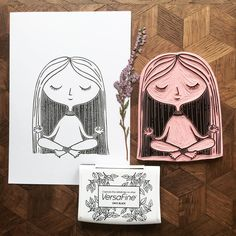 I'm wishing you a nice and calm weekend! This is the first test print of my new yoga girl carving. #viktoriaastrom #yoga #rubberstamp #handmade #handcarved #craft #print #design