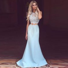 Blue Mermaid Style Two Pieces Lace Long Prom