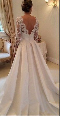 Sexy backless White/Ivory long sleeve Lace Wedding Dress Bridal Gown Custom Size