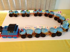 Thomas birthday train for cupcakes. Could actually do this!