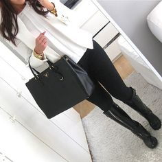 Love this outfit with the black boots!