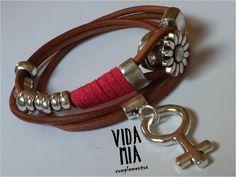 Pulseras - Pulsera de cuero - hecho a mano por VIDA-MIA-complementos en DaWanda