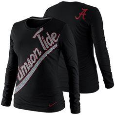 Nike Alabama Crimson Tide Ladies Angled Script Long Sleeve Tri-Blend T-Shirt - Charcoal
