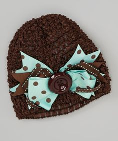 Look at this #zulilyfind! Brown & Teal Bow Crochet Beanie by Bearington Collection #zulilyfinds