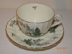 Floral Pattern Royal Worcester Valencia Bone China England Cup and Saucer