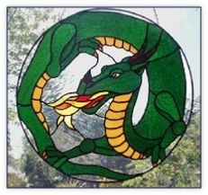 dragon stained glass window