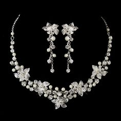 White Pearl and Rhinestone Floral Wedding Jewelry Set - Affordable Elegance Bridal -