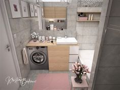 Návrh interiéru bytu Romantika v akcii, pohľad na kúpeľňu s otvorenou pračkou Stacked Washer Dryer, Washer And Dryer, Washing Machine, Home Appliances, Nostalgia, House Appliances, Washing And Drying Machine, Appliances