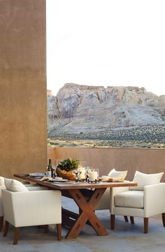 Ralph Lauren Home's Desert Modern collection offers gorgeous dining perfectly complemented by rolling canyons and desert plains