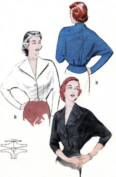 1950s butterick patterns | 1950s Blouse Pattern Butterick 5824 Dolman Sleeve Blouse with Wing ...