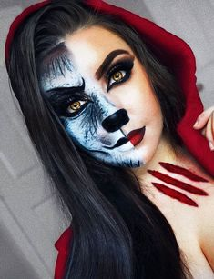 Looking for for ideas for your Halloween make-up? Browse around this site for creepy Halloween makeup looks. Cute Halloween Makeup, Creepy Halloween, Cool Halloween Costumes, Halloween 2018, Halloween Witches, Halloween Dress, Halloween Night, Happy Halloween, Red Riding Hood Makeup