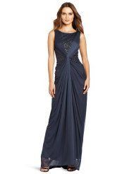 Adriana Papell Women's Sleeveless Open Back Beaded Gown