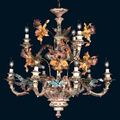 Capodimonte Made in Italy 9 Light Orchid Chandelier Mother of Pearl Finish (New) #CeilingFixtures