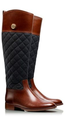 Quilted riding boots by Tory Burch
