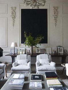 If space .. The sofa could be brought forward, or chairs closer to the fire, to allow a long low table on the back wall, with large mirror, flagged by lights or sconces
