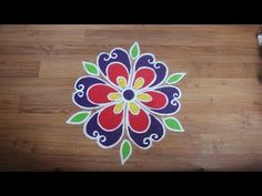 Simple,Easy and beautiful Rangoli designs with colours, flower rangoli design by Shital Daga - YouTube
