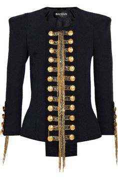 THE Balmain jacket. Gold and silver hanging chain detail, gold crested buttons. <3<3<3