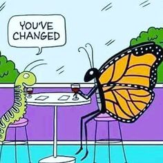 Change is good. Change is necessary. Don't be afraid of change. You never know what kind of wonders wait for you on the other side. Butterfly Quotes, Funny Quotes, Funny Memes, Funniest Jokes, Funny Captions, Funny Shit, Life Quotes, Hilarious, Dreams And Visions