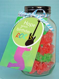 iTunes gift cards are popular with young and old alike. Give an iTunes gift card with this classic mason jar full of rock candy. The download for the gift tag is available on my site, or you can buy the whole thing and ship it today. Cool gift idea!