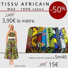 *** 7 Jours - 1 Prix - 1 Produit *** De retour, notre Tissu Africain - Wax avec de nouveaux modèles. Profitez-de notre promo aujourd'hui à -50% sur les Tissus Africain-Wax à 3.90€ le mètre au lieu de 7.80€ le mètre ou vendu en coupon de 5m40 à 15€ au lieu de 30€.