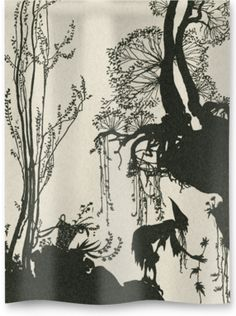 Line-block print from The Sleeping Beauty by C.S. Evans, 1920 ©Royal Academy of Arts, London. . Printed onto 100% cotton soft weave hopsack.
