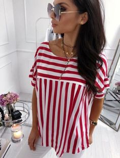 Vintage Striped Blusa Femme Zanzea Women Short Sleeve Blouse 2018 Summer Elegant Work Blusas Office Shirt Casual Top Plus Size Casual Tops, Casual Shirts, Marine Look, The Office Shirts, Corsage, Short Sleeve Blouse, Fashion Pants, Plus Size Women, Ideias Fashion